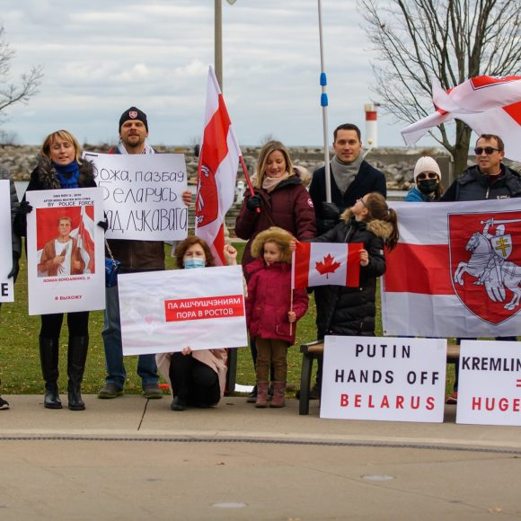 """Stop Terror in Belarus"" Rally at Bronte Marina in Oakville"