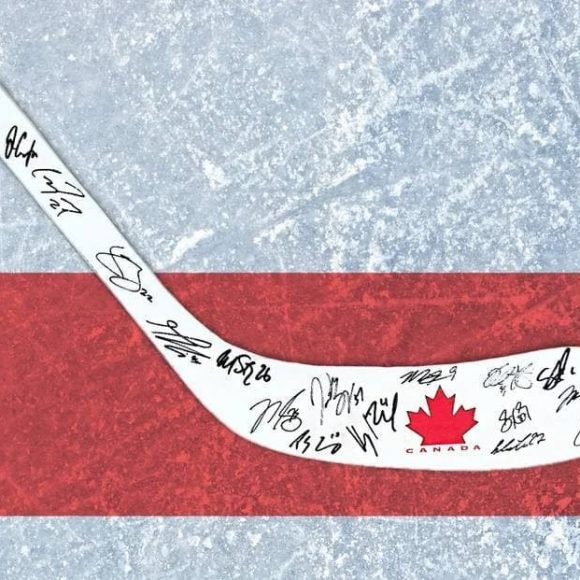 Team Canada ice hockey stick – signed by winners of the 2014 Winter Olympics in Sochi
